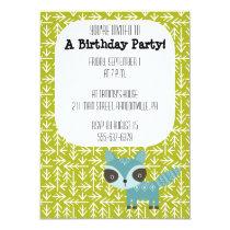 Cute Blue Raccoon Party Invitation