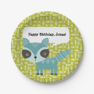 Cute Blue Raccoon Personalized Party Plates