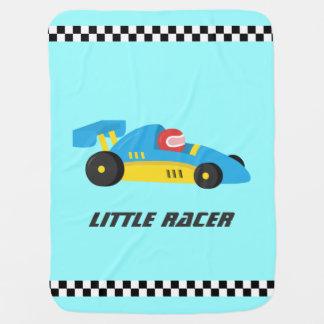 Cute Blue Race Car for The Little Racer Swaddle Blanket