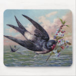 Cute Blue Red Swallow Bird And Pretty Flowers Mouse Pad