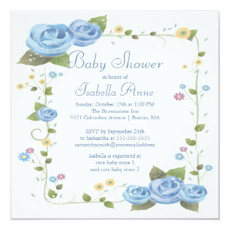 Cute Blue Ribbon Roses Baby Boy Baby Shower Card