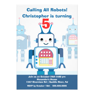 Cute Blue Robot Birthday Party Invitation