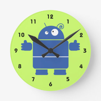 Cute Blue Robot Wall Clocks