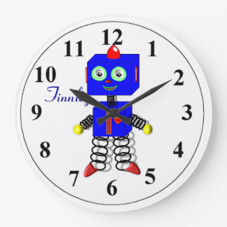 Cute Blue Robot Personalized Boys Room Clock