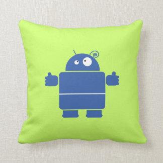 Cute Blue Robot Throw Pillow