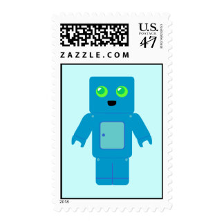 Cute Blue Robot Postage Stamps