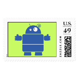Cute Blue Robot Postage Stamps (LARGE)