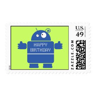 Cute Blue Robot Postage Stamps (MEDIUM)