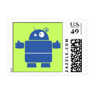 Cute Blue Robot Postage Stamps (SMALL)