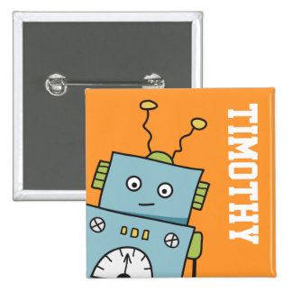 Cute Blue Robot with Personalized Name Button