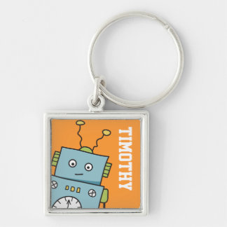Cute Blue Robot with Personalized Name Keychain