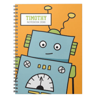 Cute Blue Robot with Personalized Name Notebook