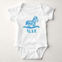 Cute Blue Rocking Horse Name Baby Bodysuit