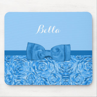 Cute Blue Rose Floral With Pretty Bow and Name Mouse Pad