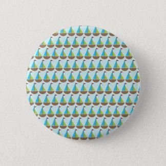 Cute Blue Sailboat Design for Boys Button