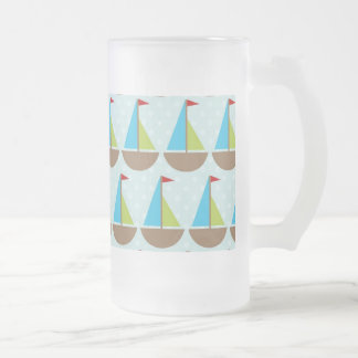 Cute Blue Sailboat Design for Boys 16 Oz Frosted Glass Beer Mug