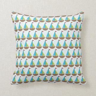 Cute Blue Sailboat Design for Boys Throw Pillow