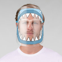 Cute Blue Shark with white sharp teeth Face Shield