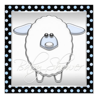 Cute Blue Sheep Baby Shower 5.25x5.25 Square Paper Invitation Card