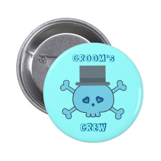 Cute Blue Skull Groom's Crew Bachelor Party Pinback Button