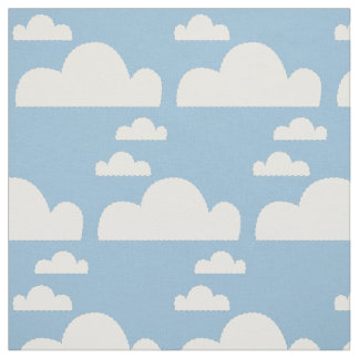 Cute Blue Sky & Dotted Lines Puffy White Clouds Fabric