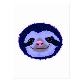 cute blue sloth face. postcard