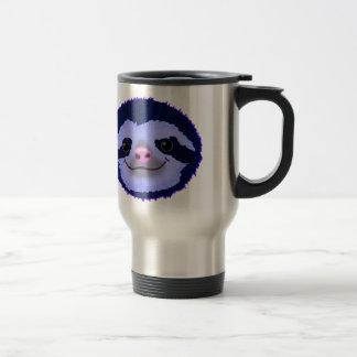 cute blue sloth face. travel mug