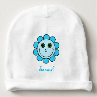 Cute Blue Smiley Face Flower Monogram Baby Beanie