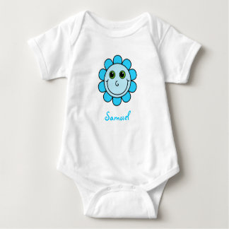 Cute Blue Smiley Face Flower Monogram Baby Bodysuit