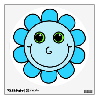Cute Blue Smiley Face Flower Wall Sticker