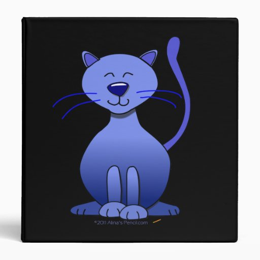 Cute Blue Smiling Cat Cartoon Custom 3 Ring Folder 3 Ring Binder