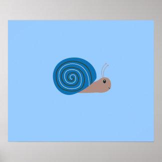 Cute blue Snail Poster