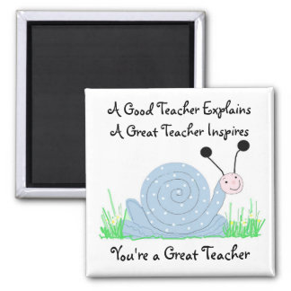 Cute Blue Snail with Teacher Saying Refrigerator Magnets