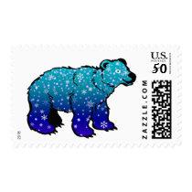 Cute Blue Snowflake Cartoon Polar Bear Stamp
