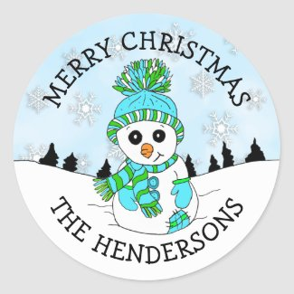 Cute Blue Snowman and Snowflakes Christmas Holiday Classic Round Sticker