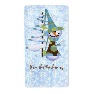 Cute Blue Snowman Christmas Kitchen Labels