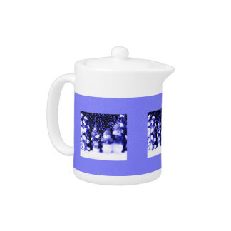 Cute Blue Snowman Family Winter Snow Flakes