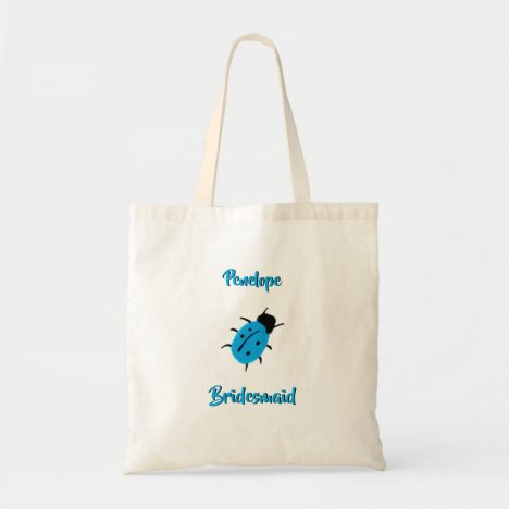 Cute Blue Spotted Ladybug and Bridesmaid Name Tote Bag
