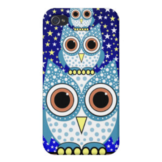 cute blue spotted owls iPhone 4/4S cases