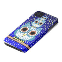 cute blue spotted owls iPhone 4 case