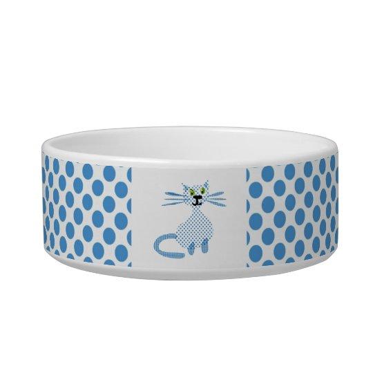 Cute blue spotty cats bowl