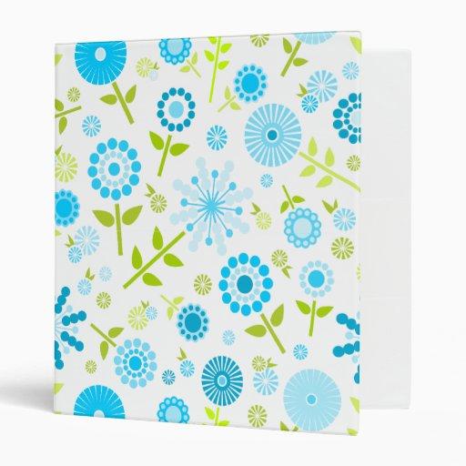 Cute blue spring flowers binder