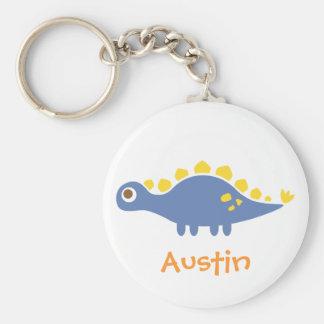 Cute blue Stegosaurus, Dinosaur for Kids Basic Round Button Keychain