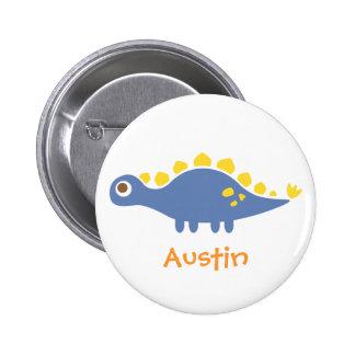 Cute Blue Stegosaurus Dinosaur For Kids Pinback Buttons