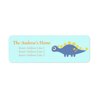 Cute blue Stegosaurus, dinosaur for kids Label