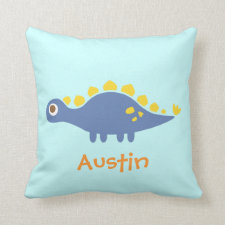 Cute Blue Stegosaurus Dinosaur For Kids Room Throw Pillows