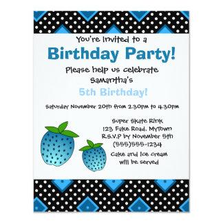 Cute Blue Strawberry Birthday Invitation