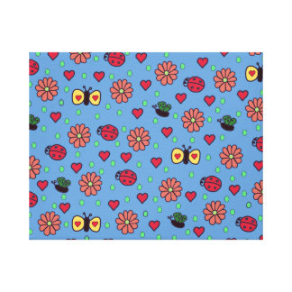 Cute Blue Stretched Canvas Print with Flowers and