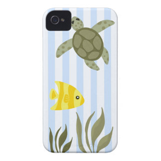 Cute Blue Stripe Ocean with Sea Turtle and Fish iPhone 4 Case