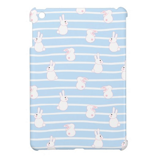 Cute Blue Striped Rabbit Pattern Case For The iPad Mini
